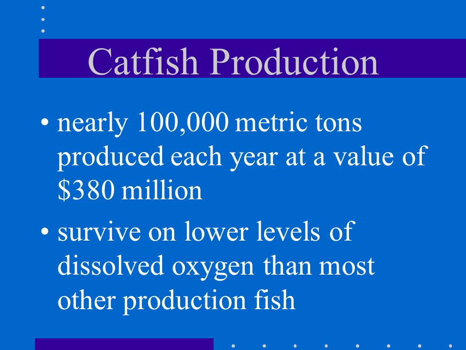 Catfish Production most widely grown production fish in the US smooth skin with no scales