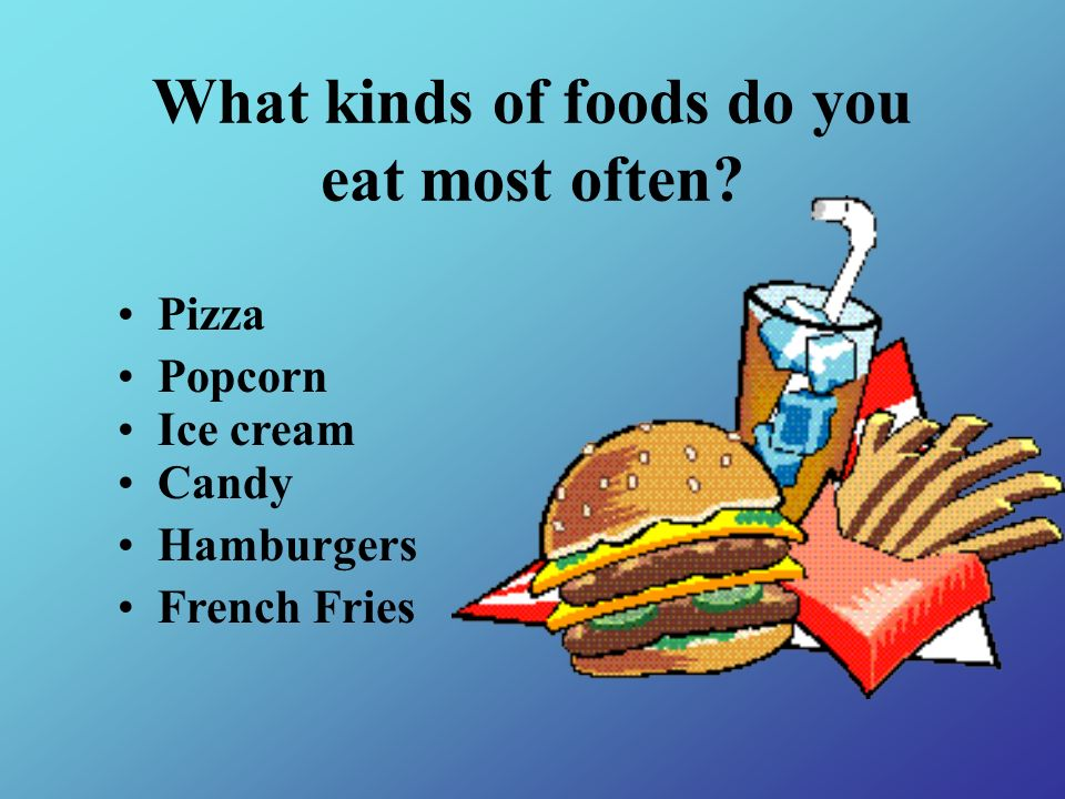 What kinds of foods do you eat most often? Pizza Popcorn Ice cream Candy Hamburgers French Fries