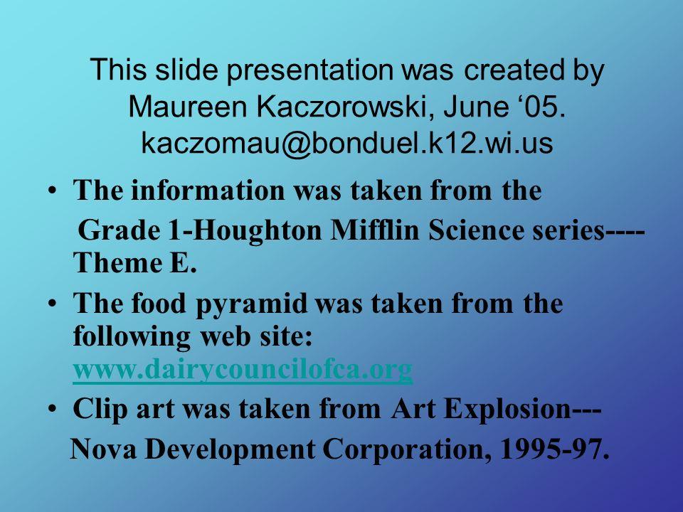 This slide presentation was created by Maureen Kaczorowski, June 05. kaczomau@bonduel.k12.wi.us The information was taken from the Grade 1-Houghton Mi