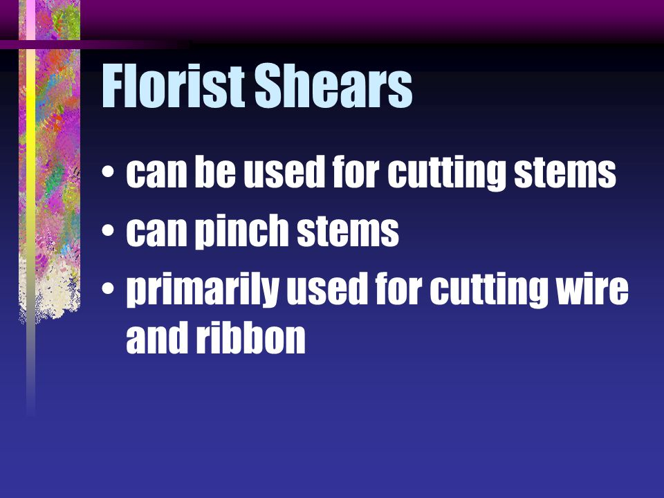 Florist Shears can be used for cutting stems can pinch stems primarily used for cutting wire and ribbon