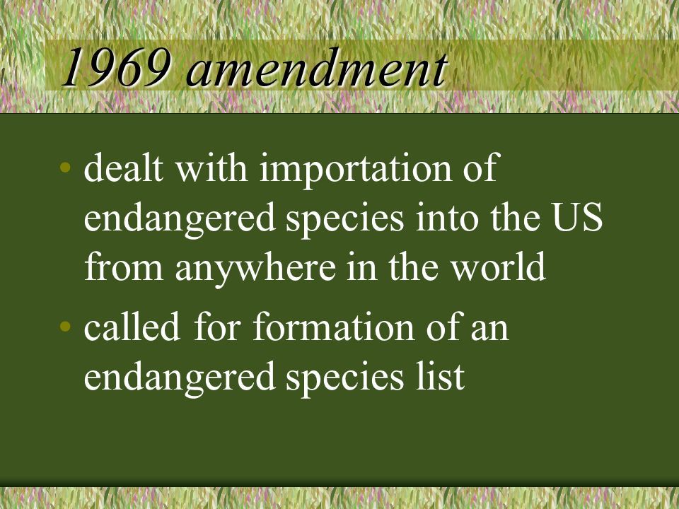 1969 amendment dealt with importation of endangered species into the US from anywhere in the world called for formation of an endangered species list