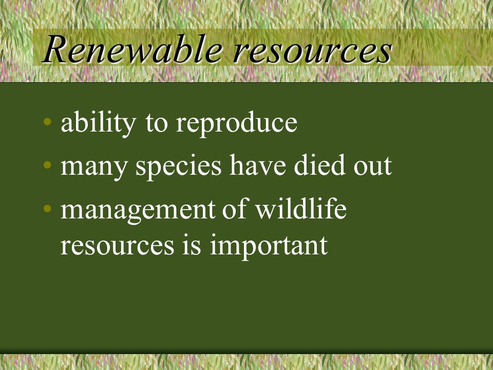 Renewable resources ability to reproduce many species have died out management of wildlife resources is important