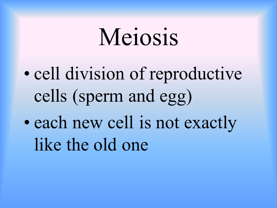 Meiosis cell division of reproductive cells (sperm and egg) each new cell is not exactly like the old one