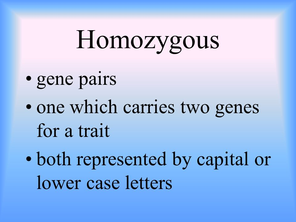 Homozygous gene pairs one which carries two genes for a trait both represented by capital or lower case letters