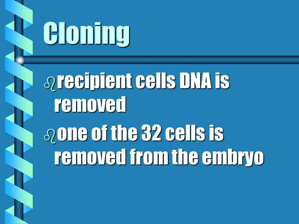 Cloning b recipient cells DNA is removed b one of the 32 cells is removed from the embryo