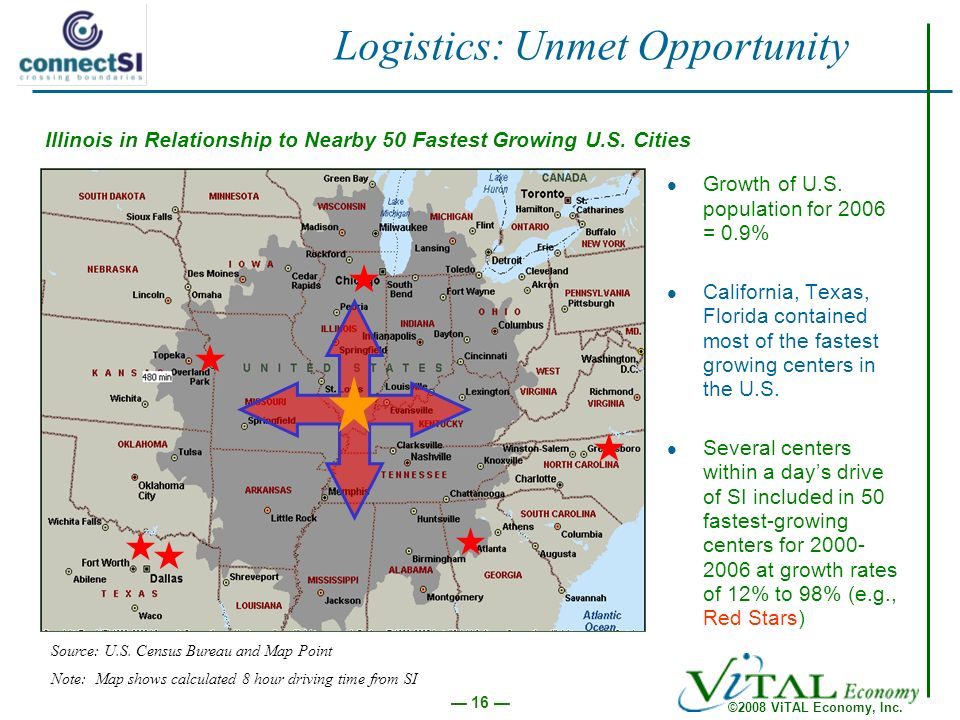 ©2008 ViTAL Economy, Inc. 16 Logistics: Unmet Opportunity Growth of U.S.