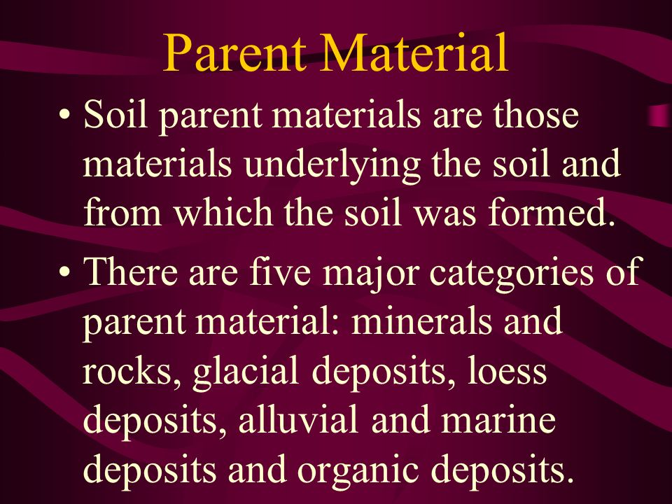 Parent Material Soil parent materials are those materials underlying the soil and from which the soil was formed. There are five major categories of p