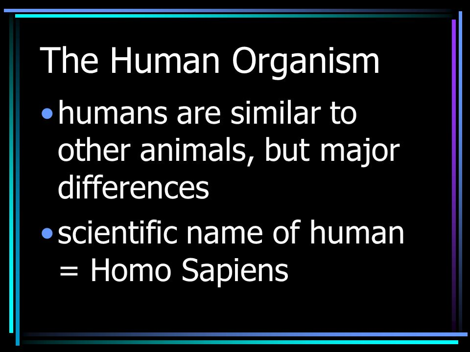 The Human Organism humans are similar to other animals, but major differences scientific name of human = Homo Sapiens