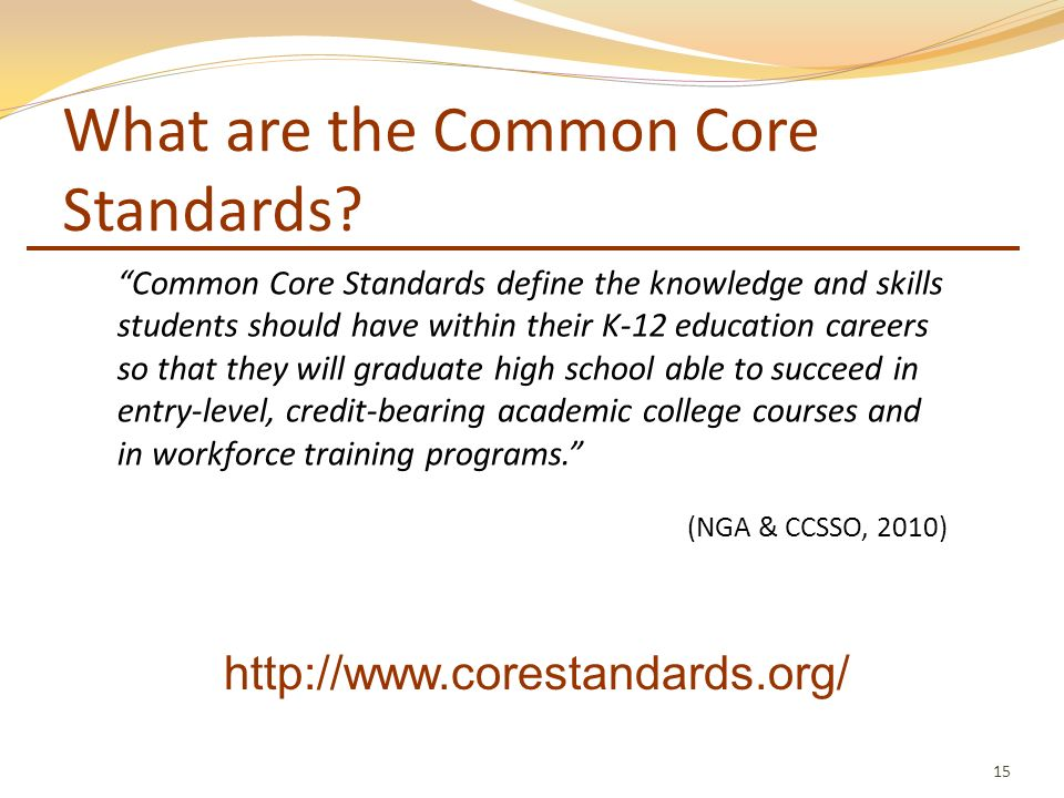 What are the Common Core Standards? 15 Common Core Standards define the knowledge and skills students should have within their K-12 education careers