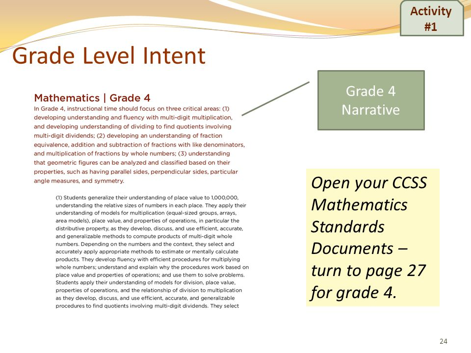 Grade Level Intent 24 Activity #1 Open your CCSS Mathematics Standards Documents – turn to page 27 for grade 4. Grade 4 Narrative