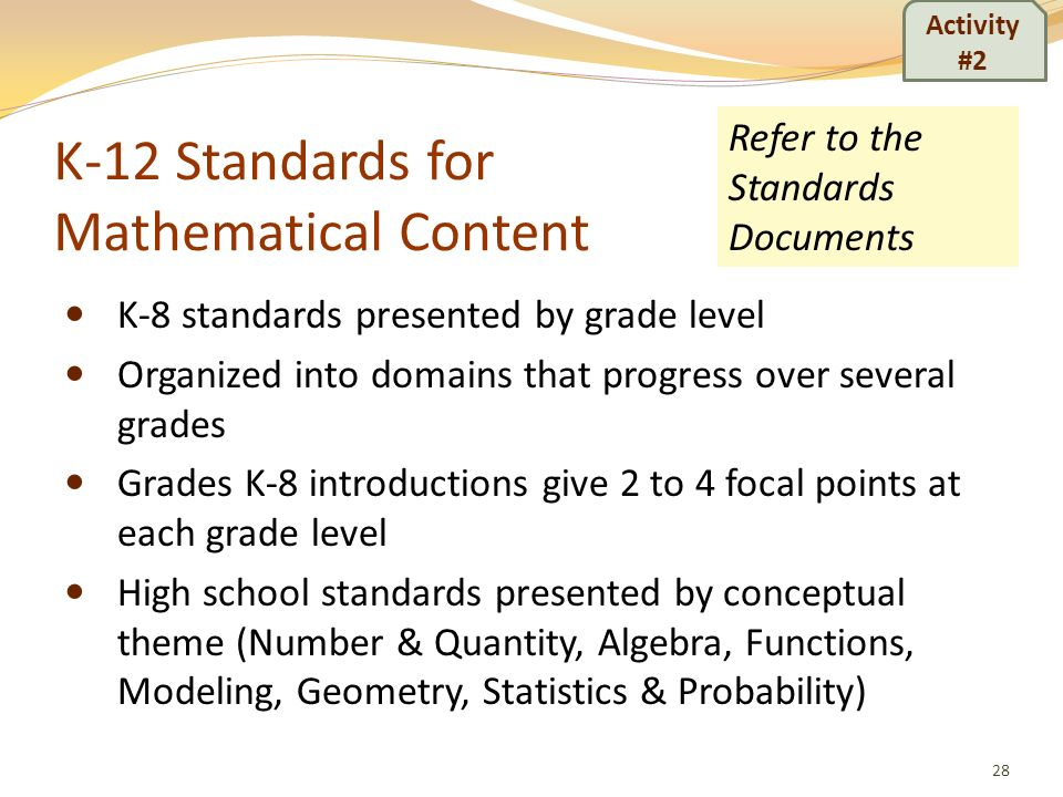 K-12 Standards for Mathematical Content K-8 standards presented by grade level Organized into domains that progress over several grades Grades K-8 int