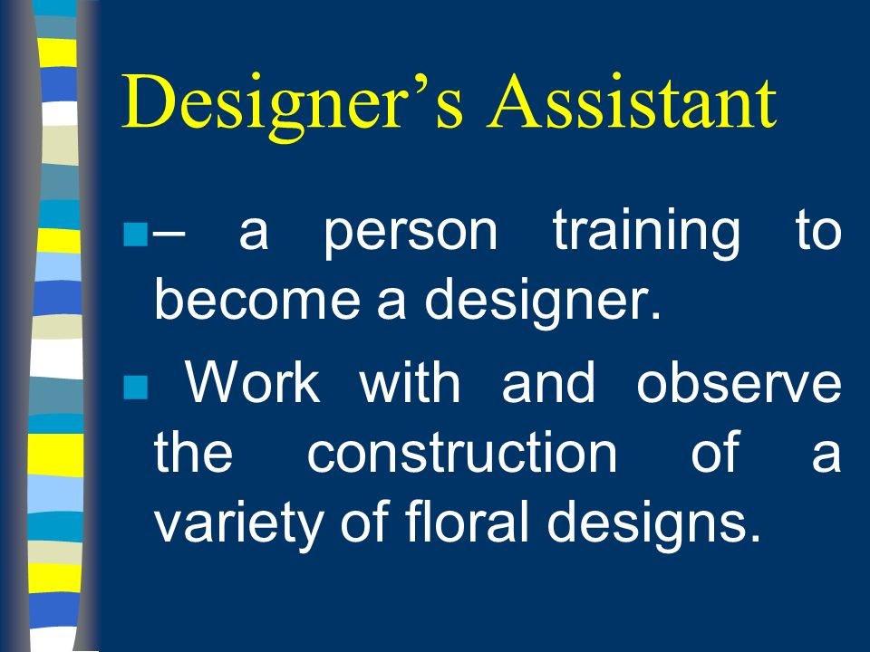 Designers Assistant n – a person training to become a designer.