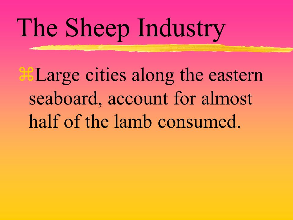 The Sheep Industry zLarge cities along the eastern seaboard, account for almost half of the lamb consumed.