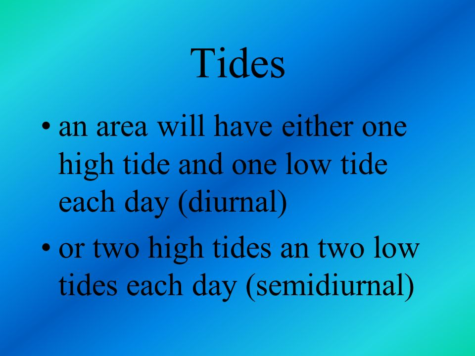 Tides 12 hours 25 minutes between high tides lunar day is longer than the solar day tides occur 50 minutes later each day