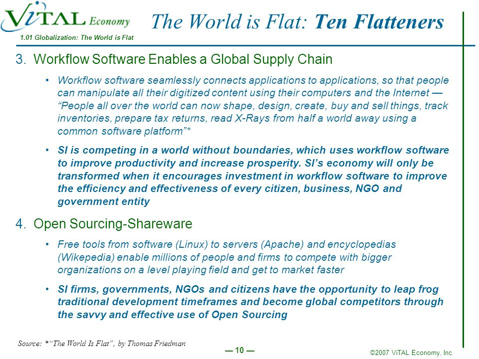 ©2007 ViTAL Economy, Inc. 10 The World is Flat: Ten Flatteners 3.Workflow Software Enables a Global Supply Chain Workflow software seamlessly connects