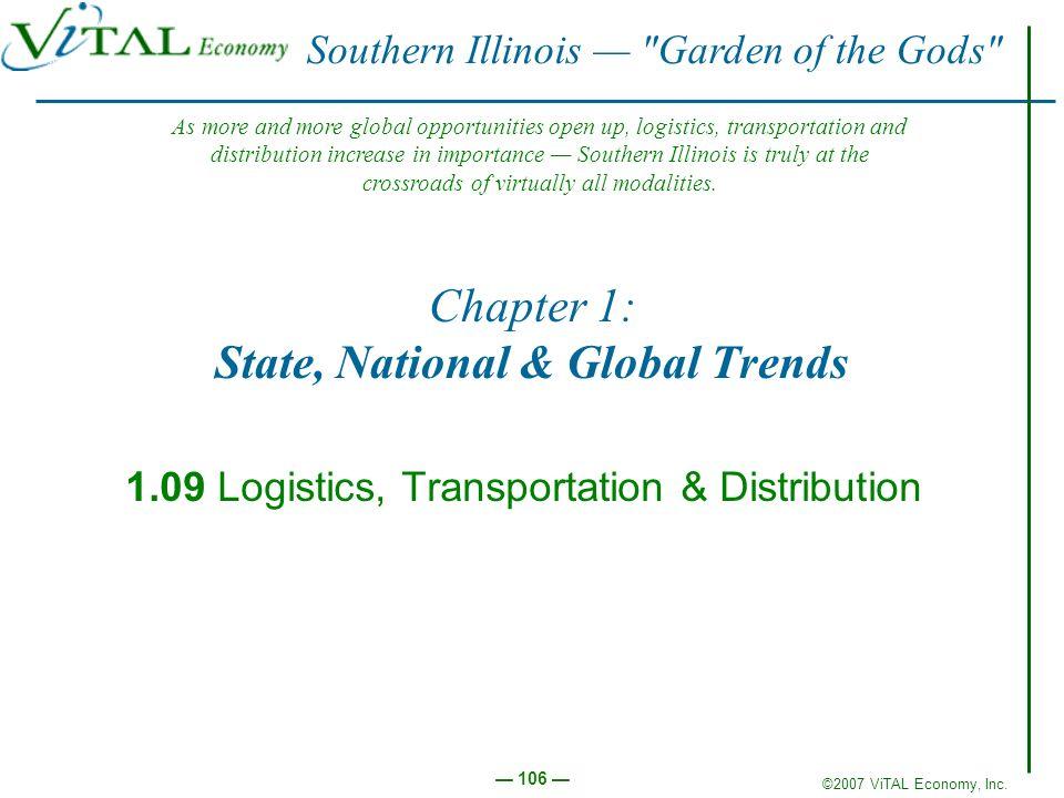 ©2007 ViTAL Economy, Inc. 106 Chapter 1: State, National & Global Trends 1.09 Logistics, Transportation & Distribution Southern Illinois