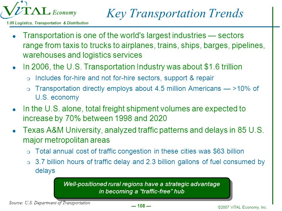 ©2007 ViTAL Economy, Inc. 108 Key Transportation Trends Transportation is one of the world's largest industries sectors range from taxis to trucks to