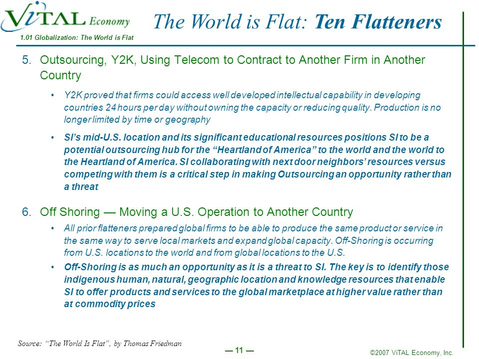 ©2007 ViTAL Economy, Inc. 11 5.Outsourcing, Y2K, Using Telecom to Contract to Another Firm in Another Country Y2K proved that firms could access well