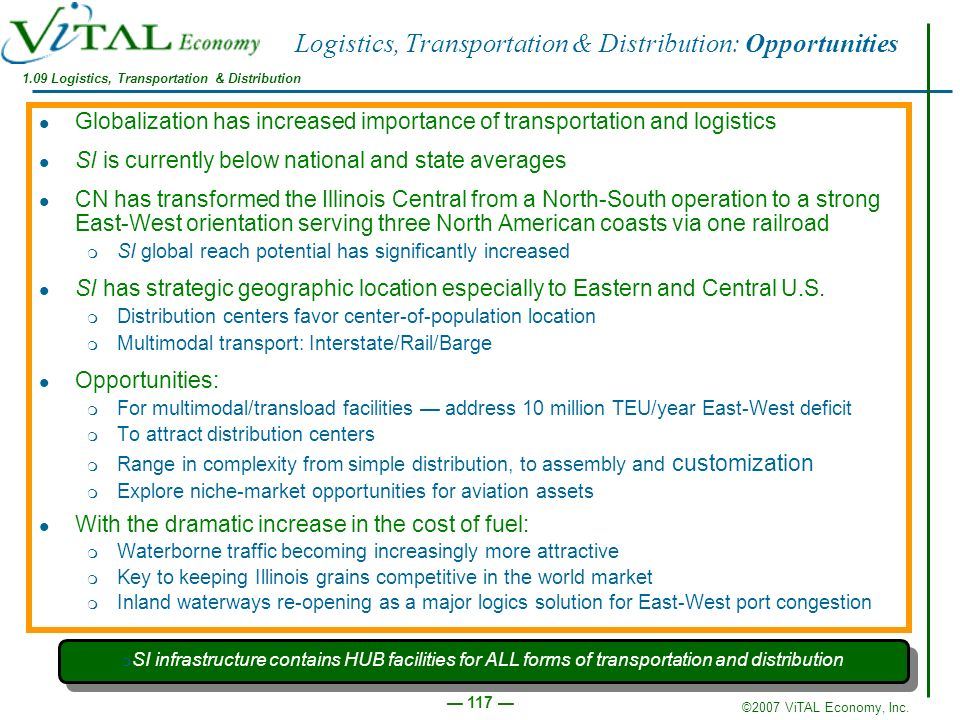 ©2007 ViTAL Economy, Inc. 117 Logistics, Transportation & Distribution: Opportunities Globalization has increased importance of transportation and log