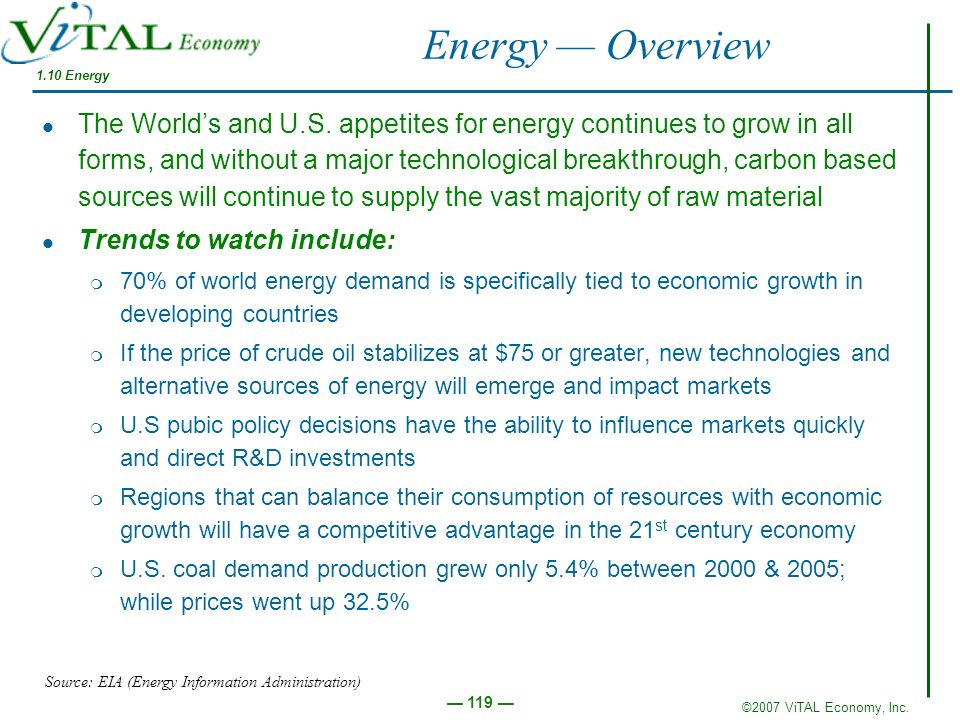 ©2007 ViTAL Economy, Inc. 119 Energy Overview The Worlds and U.S. appetites for energy continues to grow in all forms, and without a major technologic