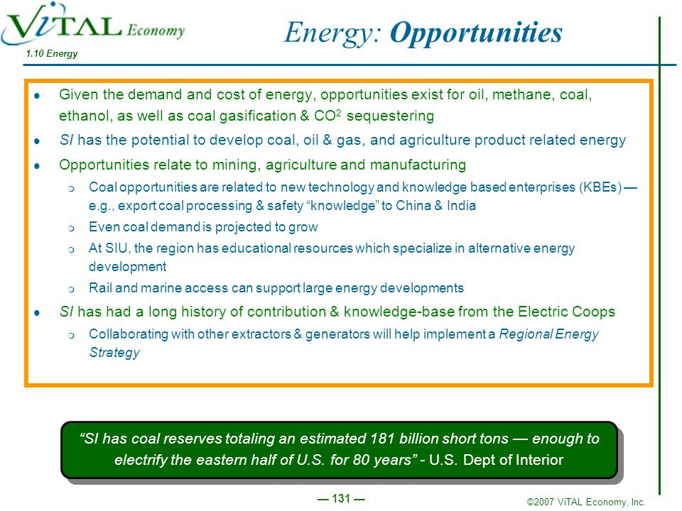 ©2007 ViTAL Economy, Inc. 131 1.10 Energy Energy: Opportunities Given the demand and cost of energy, opportunities exist for oil, methane, coal, ethan