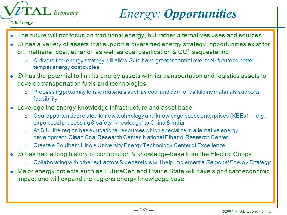 ©2007 ViTAL Economy, Inc. 132 1.10 Energy Energy: Opportunities The future will not focus on traditional energy, but rather alternatives uses and sour