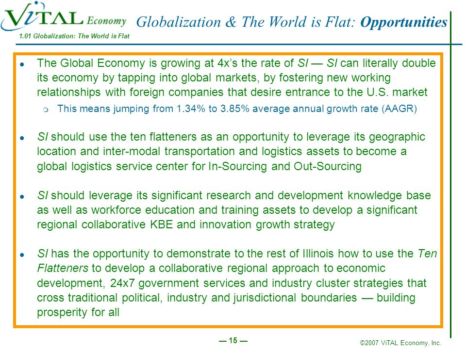 ©2007 ViTAL Economy, Inc. 15 Globalization & The World is Flat: Opportunities The Global Economy is growing at 4xs the rate of SI SI can literally dou