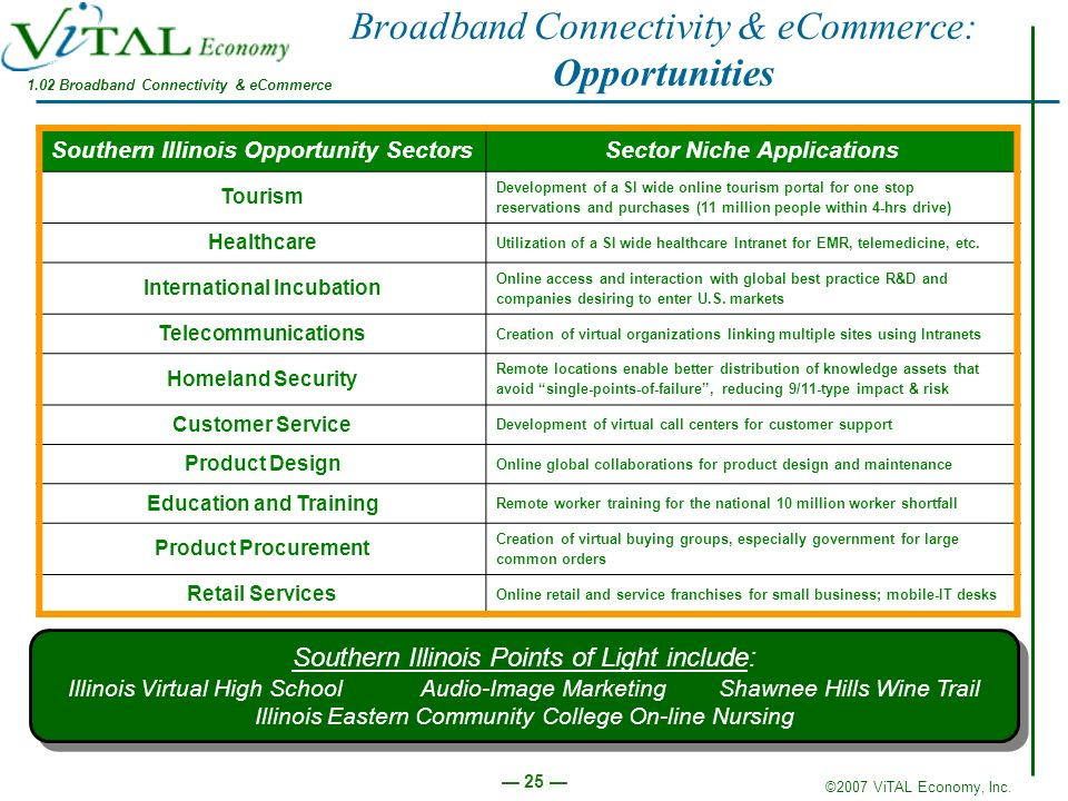 ©2007 ViTAL Economy, Inc. 25 Broadband Connectivity & eCommerce: Opportunities Southern Illinois Opportunity SectorsSector Niche Applications Tourism