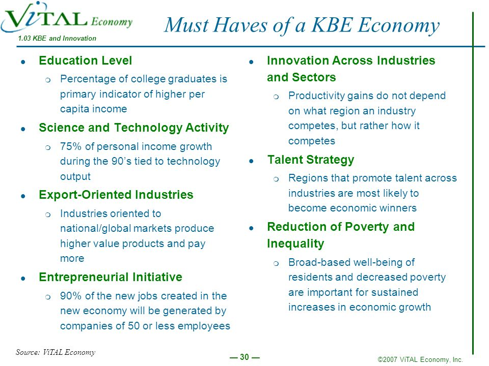 ©2007 ViTAL Economy, Inc. 30 Must Haves of a KBE Economy 1.03 KBE and Innovation Education Level m Percentage of college graduates is primary indicato