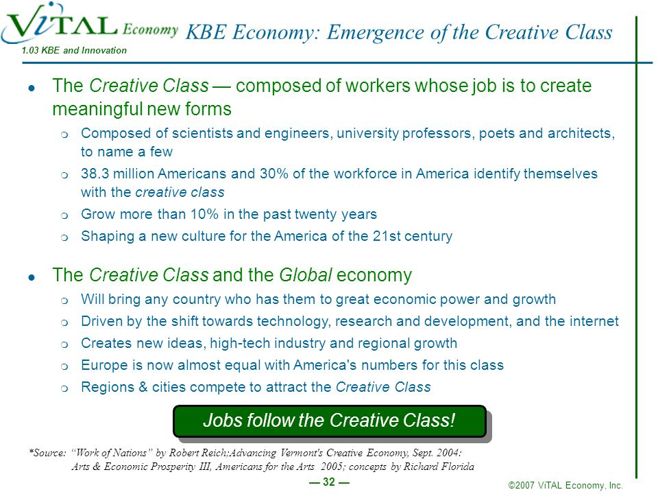 ©2007 ViTAL Economy, Inc. 32 KBE Economy: Emergence of the Creative Class 1.03 KBE and Innovation The Creative Class composed of workers whose job is