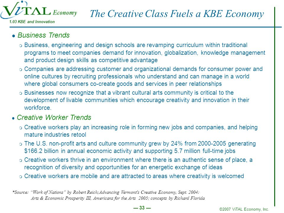 ©2007 ViTAL Economy, Inc. 33 The Creative Class Fuels a KBE Economy Business Trends m Business, engineering and design schools are revamping curriculu