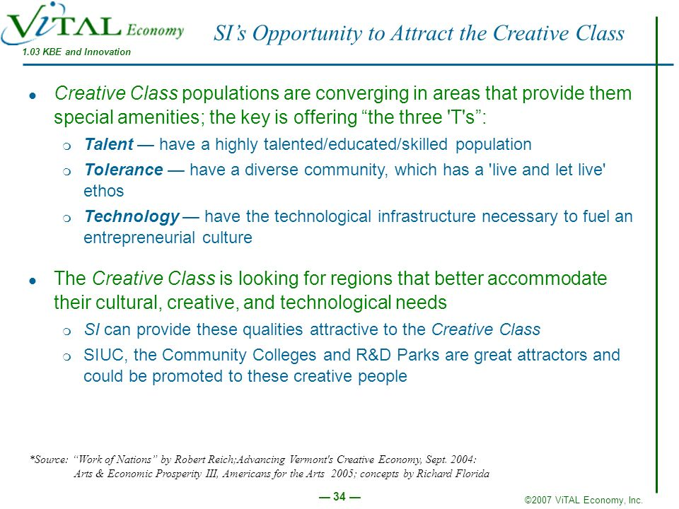 ©2007 ViTAL Economy, Inc. 34 SIs Opportunity to Attract the Creative Class 1.03 KBE and Innovation Creative Class populations are converging in areas