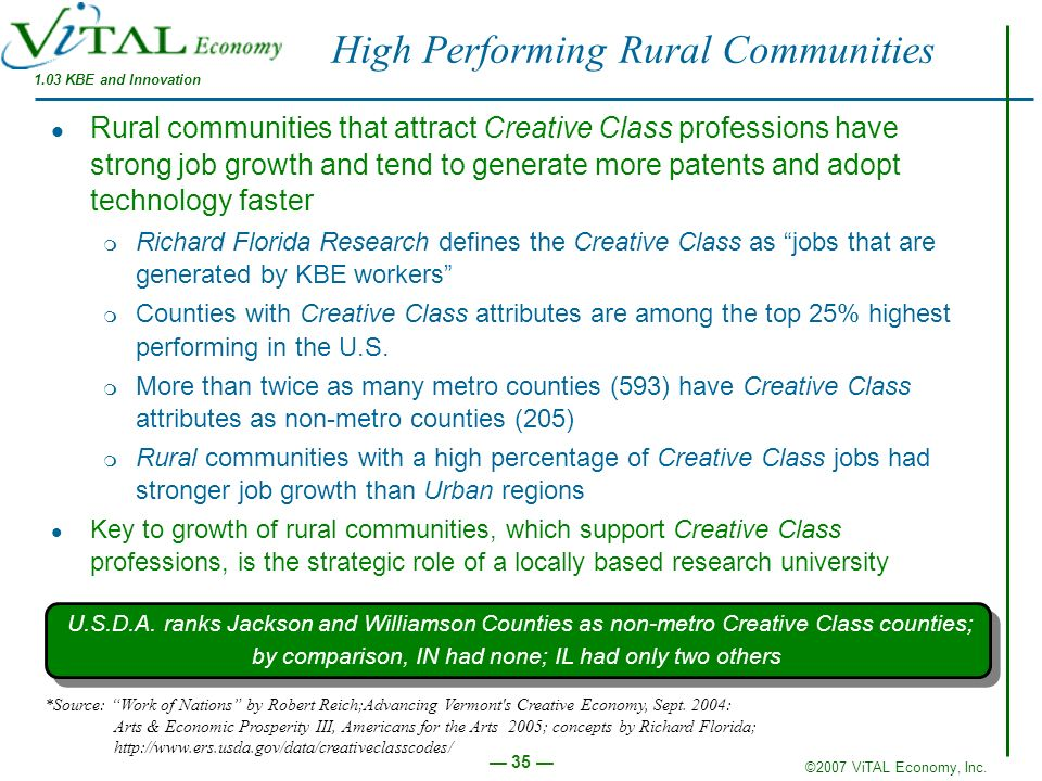 ©2007 ViTAL Economy, Inc. 35 High Performing Rural Communities Rural communities that attract Creative Class professions have strong job growth and te