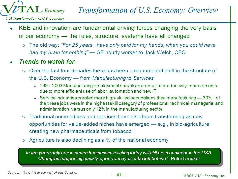 ©2007 ViTAL Economy, Inc. 41 Transformation of U.S. Economy: Overview KBE and innovation are fundamental driving forces changing the very basis of our