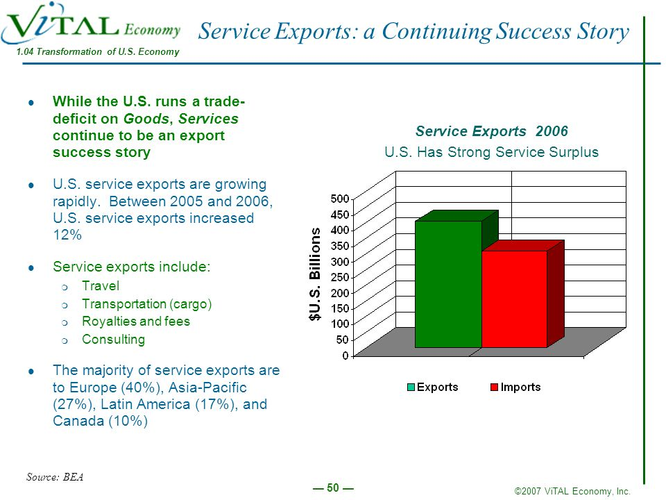 ©2007 ViTAL Economy, Inc. 50 Service Exports: a Continuing Success Story While the U.S. runs a trade- deficit on Goods, Services continue to be an exp