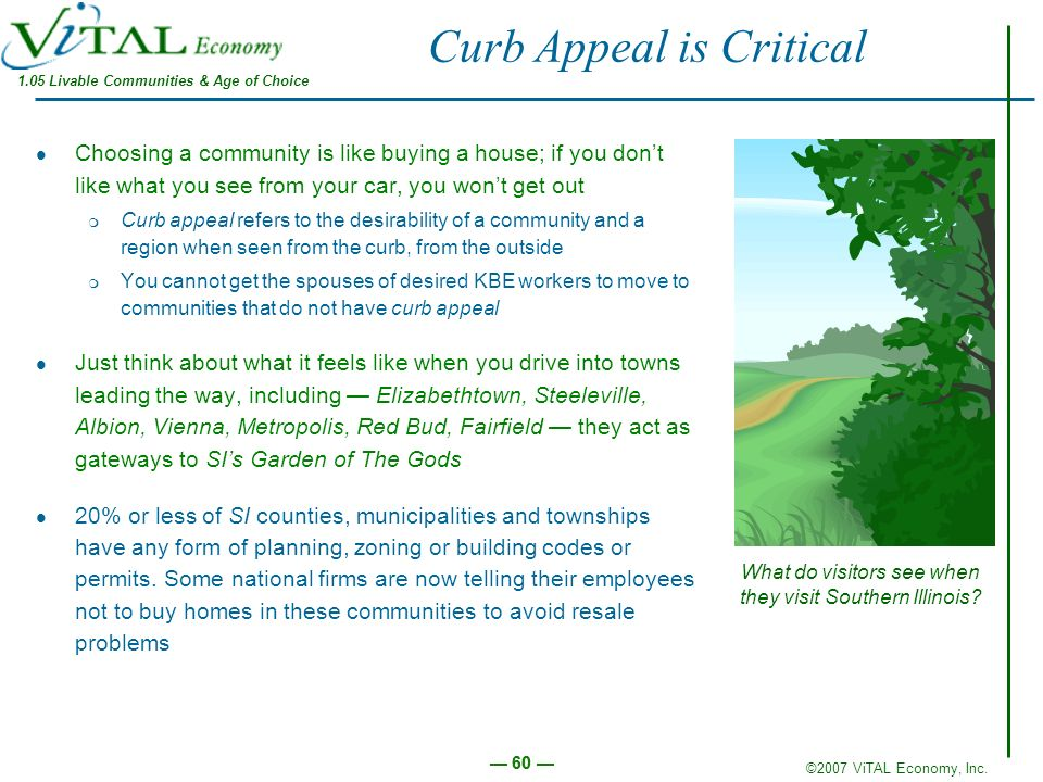 ©2007 ViTAL Economy, Inc. 60 Curb Appeal is Critical Choosing a community is like buying a house; if you dont like what you see from your car, you won