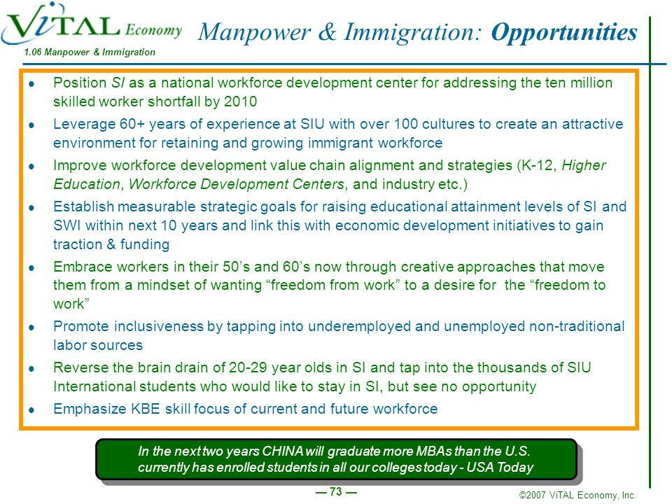 ©2007 ViTAL Economy, Inc. 73 Manpower & Immigration: Opportunities Position SI as a national workforce development center for addressing the ten milli
