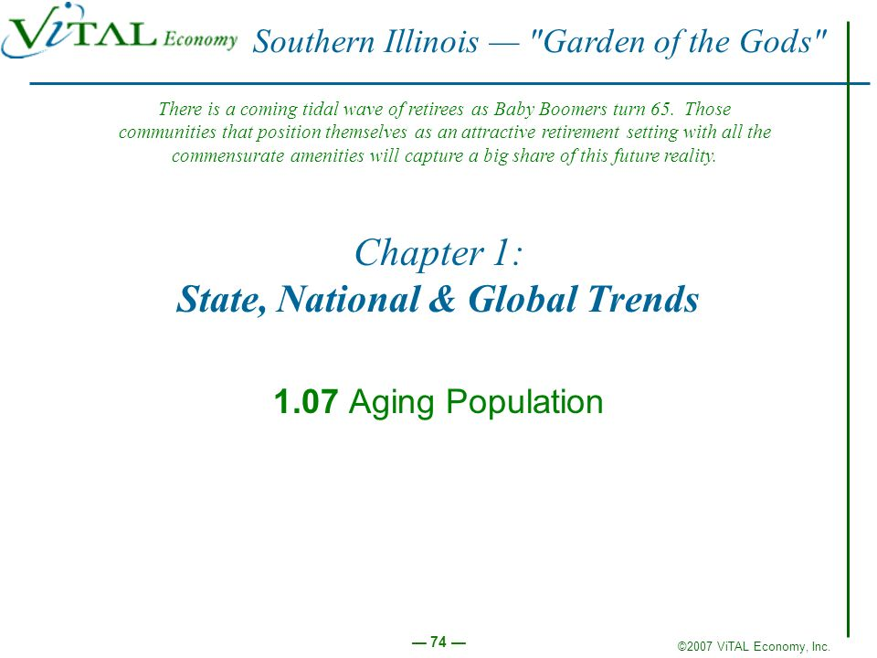 ©2007 ViTAL Economy, Inc. 74 Chapter 1: State, National & Global Trends 1.07 Aging Population Southern Illinois