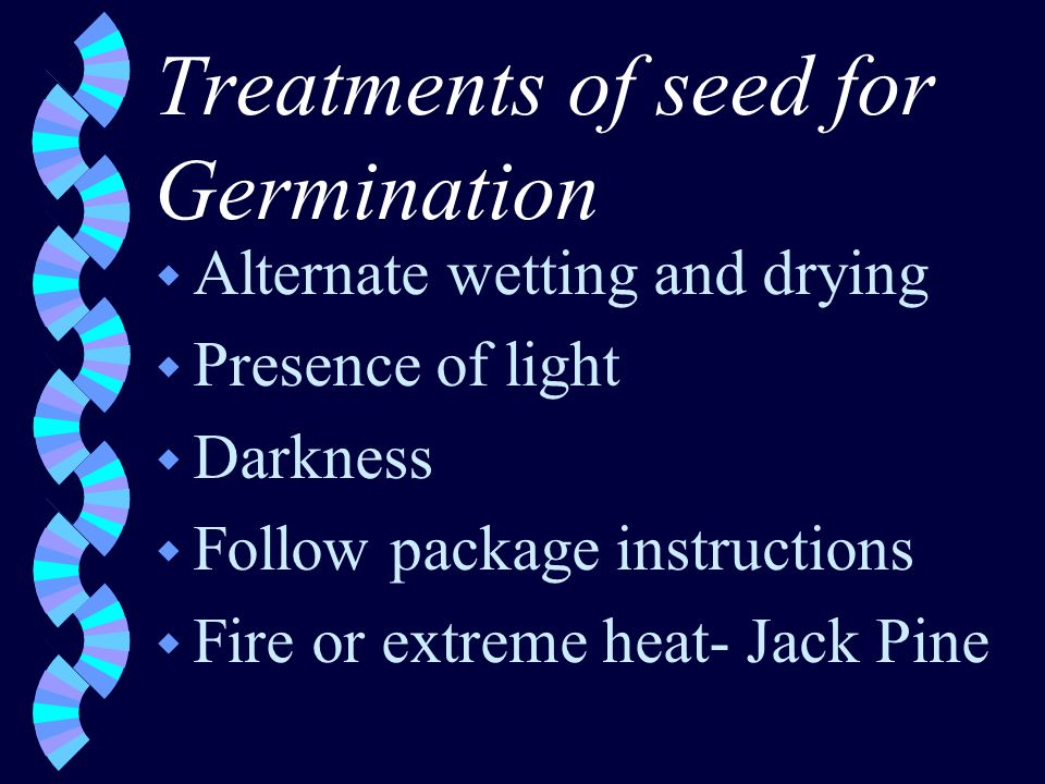 Treatments of seed for Germination w Alternate wetting and drying w Presence of light w Darkness w Follow package instructions w Fire or extreme heat- Jack Pine