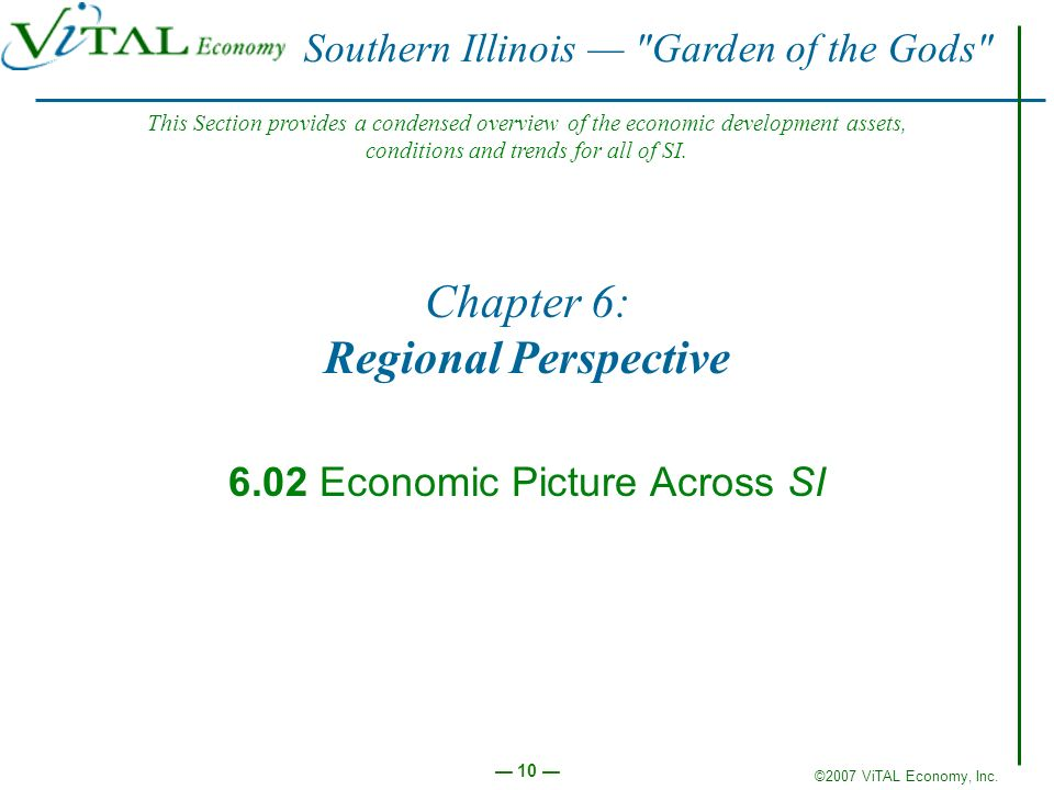 ©2007 ViTAL Economy, Inc. 10 Chapter 6: Regional Perspective 6.02 Economic Picture Across SI Southern Illinois