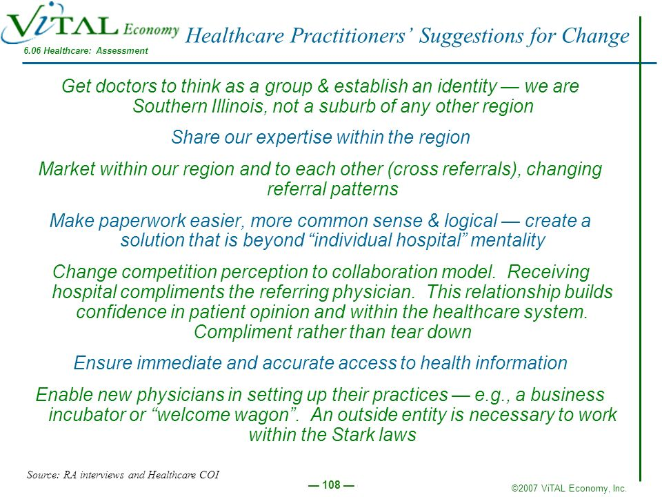 ©2007 ViTAL Economy, Inc. 108 Healthcare Practitioners Suggestions for Change Get doctors to think as a group & establish an identity we are Southern