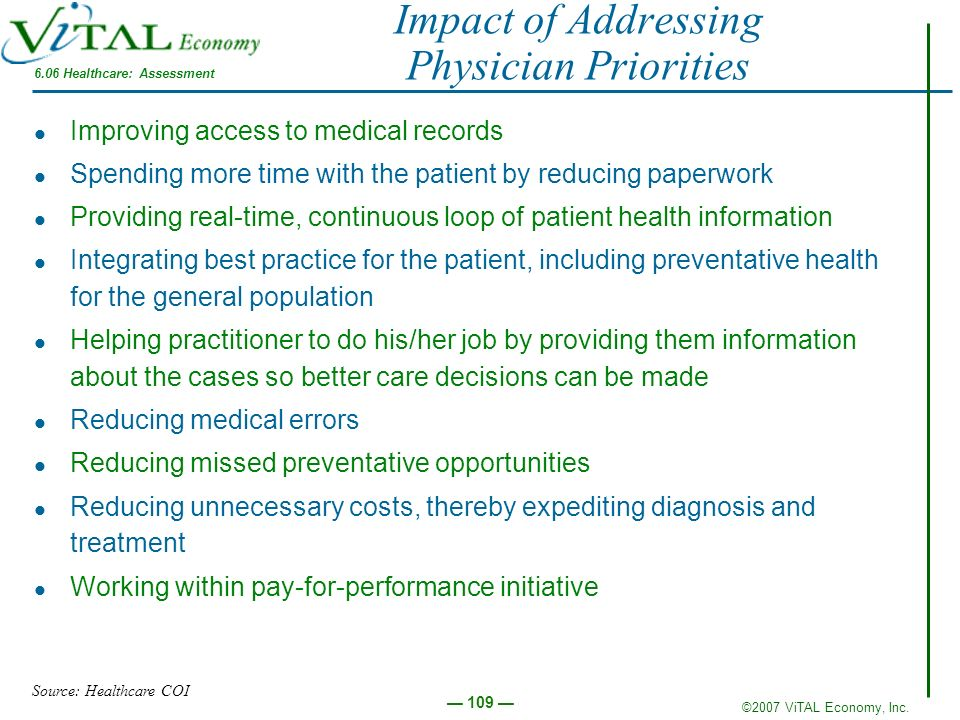 ©2007 ViTAL Economy, Inc. 109 Impact of Addressing Physician Priorities Improving access to medical records Spending more time with the patient by red