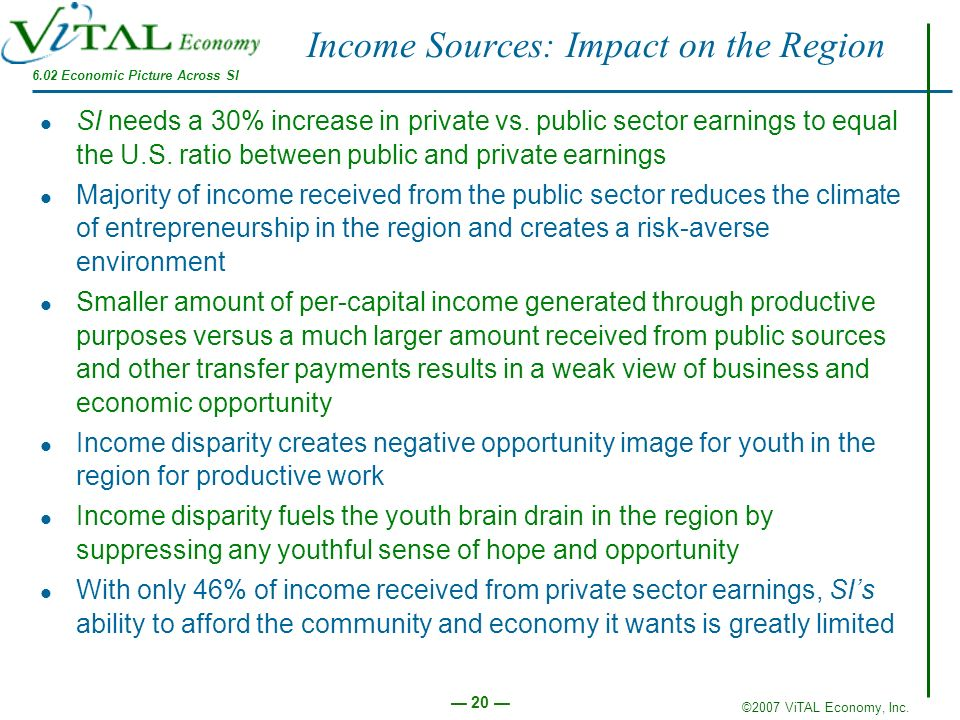 ©2007 ViTAL Economy, Inc. 20 Income Sources: Impact on the Region SI needs a 30% increase in private vs. public sector earnings to equal the U.S. rati