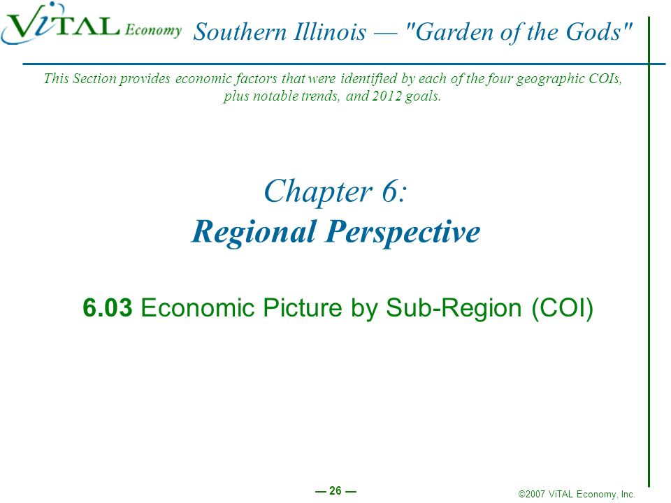 ©2007 ViTAL Economy, Inc. 26 Chapter 6: Regional Perspective 6.03 Economic Picture by Sub-Region (COI) Southern Illinois
