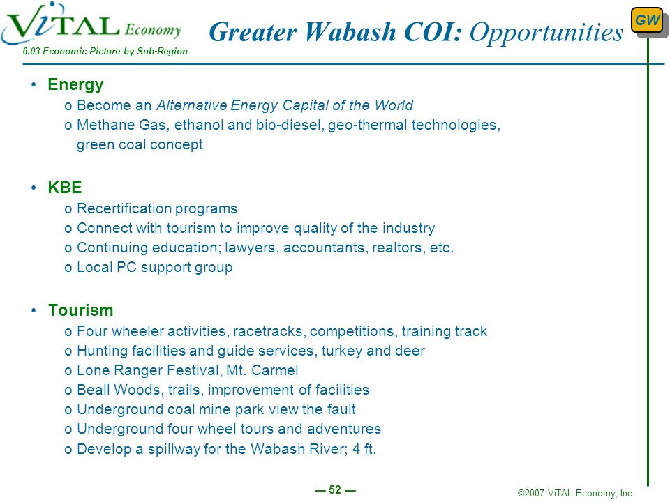 ©2007 ViTAL Economy, Inc. 52 Greater Wabash COI: Opportunities 6.03 Economic Picture by Sub-Region GW Energy oBecome an Alternative Energy Capital of