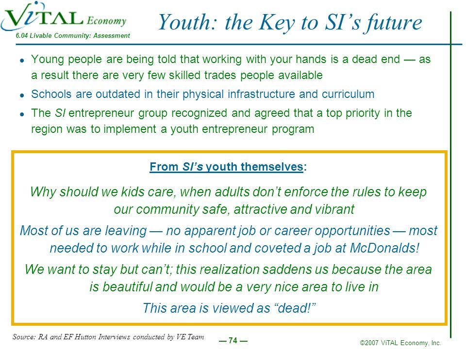 ©2007 ViTAL Economy, Inc. 74 Youth: the Key to SIs future Young people are being told that working with your hands is a dead end as a result there are