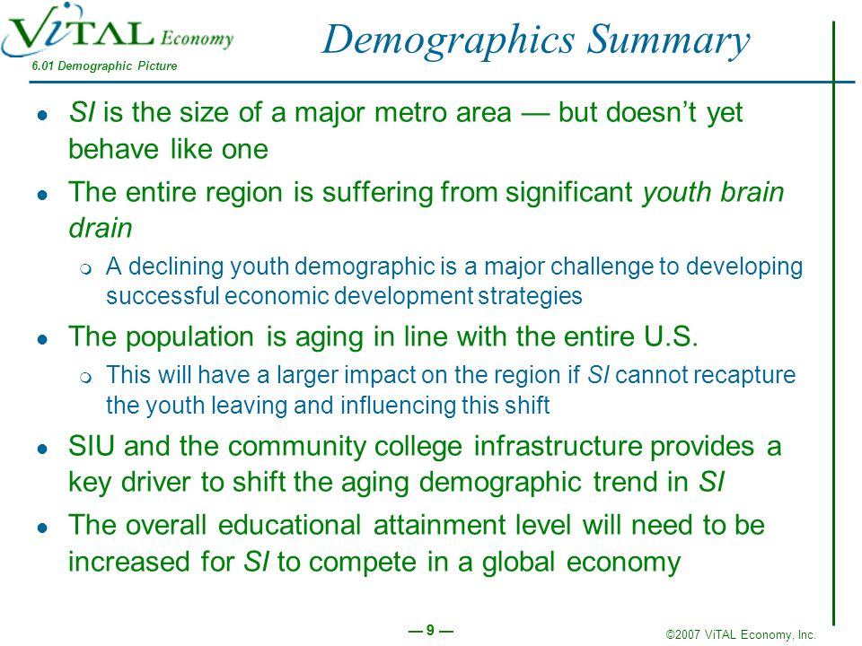 ©2007 ViTAL Economy, Inc. 9 9 SI is the size of a major metro area but doesnt yet behave like one The entire region is suffering from significant yout