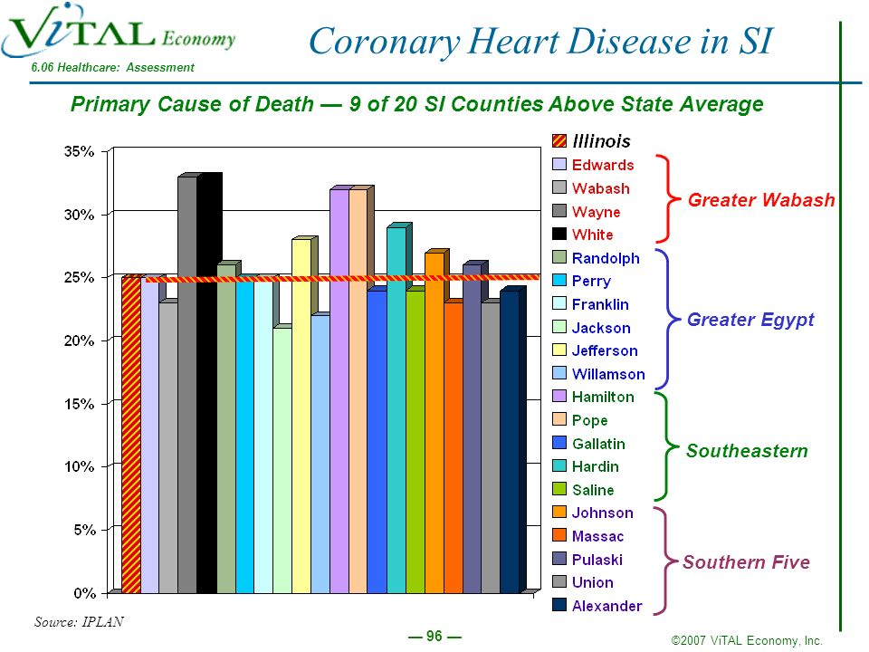 ©2007 ViTAL Economy, Inc. 96 Coronary Heart Disease in SI Source: IPLAN Greater Wabash Southern Five Southeastern Greater Egypt Primary Cause of Death