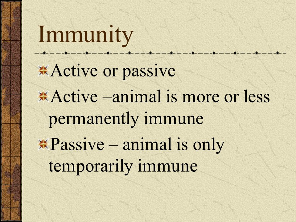 Immunity Active or passive Active –animal is more or less permanently immune Passive – animal is only temporarily immune