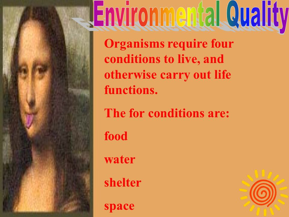 Environmental quality is the general condition of the natural resources and other factors where we go about life.